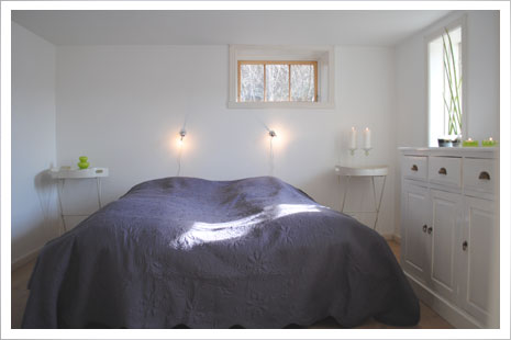 Det hyggelige soveværelse i Æblehuset.